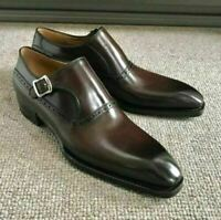 NEW-Handmade Men Coffee Brown Leather Shoes Monk Brogue Strap dress Formal Shoes