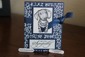 Stampin Up & Rubber Hedgehog Stamps Dachshund Dog Homemade Greeting Card