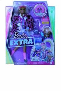 Barbie Extra #8 Pink Faux Fur Varsity Jacket & Pet Teddy Bear Doll