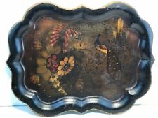 England Chippendale Large Hand Painted Black Peacock Bird Stencil Tole Tray