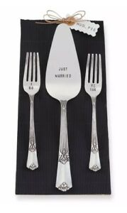 Mud Pie Wedding Collection Bride Groom Cake Server Fork Serving Set 4211000 New