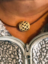 Neil Eyre Designs Marble Bead Cast Brown Leather Cord Barrel braid Necklace