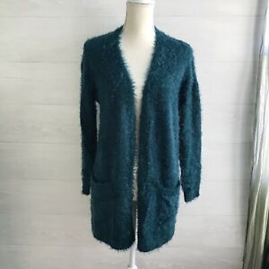 NWT Chelsea & Theodore - Teal fuzzy open front cardigan sweater, S