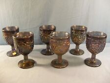Set of 6 Imperial Peacock Carnival Glass Water Goblets w/ Grape Design