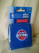 DETROIT PISTONS WRIST BANDS NBA BASKETBALL GAME SPORT 2007 TERRY COTTON BLUE.
