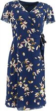 H Halston Watercolor Floral Printed Wrap Dress Broadway Blue 10 NEW A353394