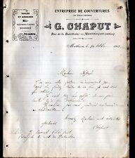 """MONTLUCON (03) Ets COUVERTURE / TUILES & ARDOISES  """"G. CHAPUT Couvreur"""" en 1912"""