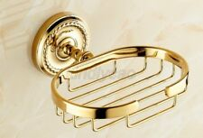 Luxury Gold Color Brass Wall Mount Bathroom Wire Soap Dish Holder Kba094