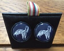 PAUL SMITH METALLIC BLUE CUFFLINKS WITH WHITE ENAMEL ETCHED AFGHAN DOG