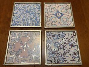 FREE SHIP Set 4 Patchwork Prints BALLARD DESIGNS Blue Pink Wall Art Book Plaques