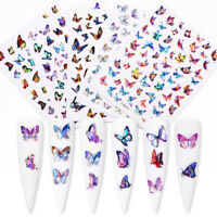 3D Nail Sticker Colorful Butterfly Series Nail Art Transfer Decals Decoration