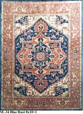 Indian Hand Knotted 8x10 240x300 Fine Serapi Persian Oriental Wool Carpet Rug