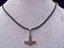 Viking Norse Mythology Mjölnir Thor's Hammer Black Plaited Necklace.Handcrafted
