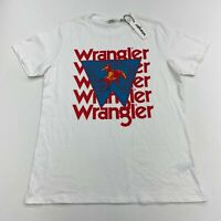 NWT Wrangler T Shirt Men's Small Short Sleeve White Crew Neck Casual 100% Cotton