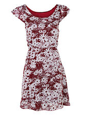 New Women Ladies Summer Red Daisy Graphic Print Summer Holiday Dress