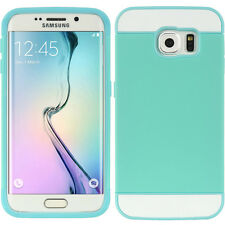 For Samsung Galaxy S6 Edge - HARD RUBBER HYBRID CREDIT CARD SKIN CASE BLUE WHITE
