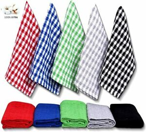15x Terry 100% Cotton Tea Towels Kitchen Cleaning Dish Cloths Drying Pack