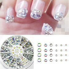 300Pcs 3D Nail Art Rhinestones Glitter Diamond Gems Tips Decoration Wheel White