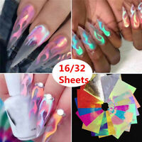 16/32Pcs Holographic Fire Flame Hollow Stickers Fires Manicure Stickers Nail Art