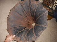 Antique Edison Horn Speaker Home Black Phonograph Horn Missing Elbow