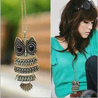 Women Fashion Vintage Style Bronze Owl Long Chain Necklace & Pendants Jewelry