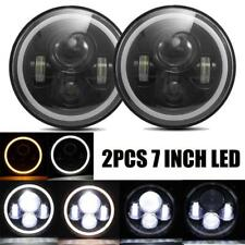 "2x 7"" Round LED Headlight Hi/Low Beam Halo Angle Eyes For Jeep Wrangler JK LJ"