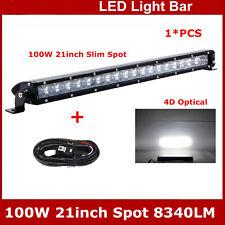 21inch 100W Single Row LED Light bar Offroad Driving ATV Lamp 4D Lens+Wiring Kit