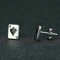 Poker Card Ace Of Spade Stud Earrings For Men Women Jewelry Gift Stainless Steel