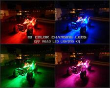 18 Color Changing Led 6pc Kit ATV UTV Quad 4 Wheeler 8pc Led Under Body Glow Kit
