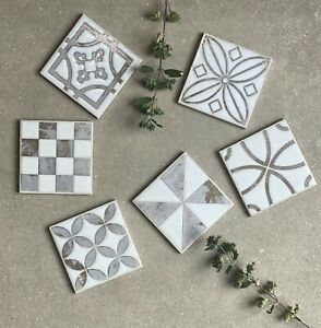 Small 10x10cm decorative porcelain wall floor tile 6 variant designs