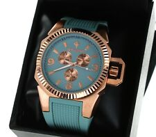 New Style SKY MARINE ROSE GOLD PLATED, GREEN SILICONE BAND