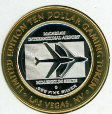 .999 Silver Strike $10 Token; McCarran Airport, Las Vegas -- 1959 Flight Record