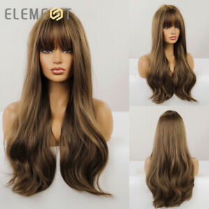 Long Dark Brown Synthetic Hair Wigs with Bangs for Women Body Wave Daily Cosplay