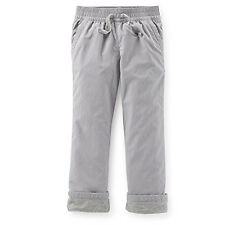 NWT Carter's Kid Girls Grey Jersey Lined Roll Cuff Poplin Pants Fall Winter 4 4T