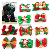 20/100pcs Cute Christmas Dog Puppy Hair Bows Grooming Accessories for Yorkie Cat