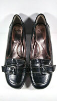 Sofft Black Leather Square Buckle Strap Slip On Pumps Heels Womens Size 9.5 M