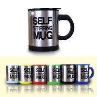 new coffee mug stainless steel surface cup with lid  automatic self stirring mug