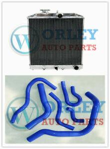 3 ROW Alloy Radiator & BLUE Hose for Honda Civic EK EG B16 B18 92-00 32mm I/O