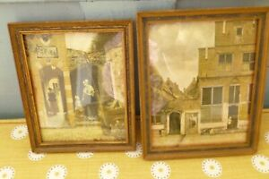 Vintage small old decorative wooden picture frames x 2