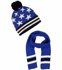 Boys patriotic winter hat scarf NWT navy royal blue white stars 5 6 7 8 9 10 12