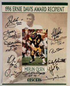 MERLIN OLSEN Ernie Davis AWARD POSTER Football Autograph Signed HALL OF FAME NFL
