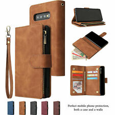 For Samsung S10 S9 S8 Plus Note 10+ 9 Magnetic Leather Wallet Card Case Zipper