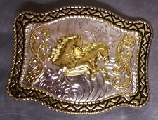 Prancing New 2 tone Pewter Belt Buckle Animal Horses