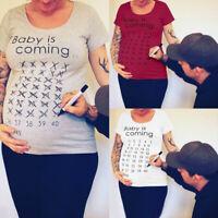 EE_ BABY IS COMING CALENDAR COUNTDOWN WOMENMATERNITY SHORT SLEEVE T-SHIRT STUN