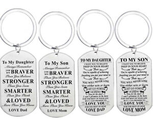 To My Son Daughter Gifts Inspirational Key Rings From Mom Dad Love Keychain