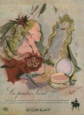 Publicité ancienne la poudre secret d'Orsay  1946 ou 1948 issue de magazine D.45