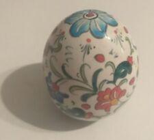 Antique Folk Art Multi Color Ceramic Egg Collectible Display Piece
