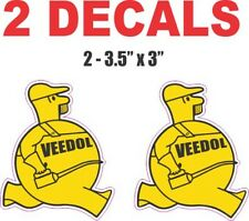 2 Veedol Man Gaoline / Oil  Decals Great for Dioramas, Gas and Oil Cans & More