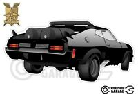 Mad Max Black Interceptor movie car with tanks - XX Large Sticker - Rear View