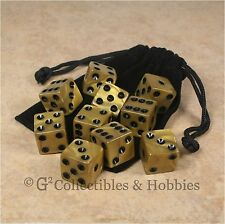 NEW 10 Olympic Gold w Black Pips Dice + Bag Set D&D RPG Bunco Board Game D6